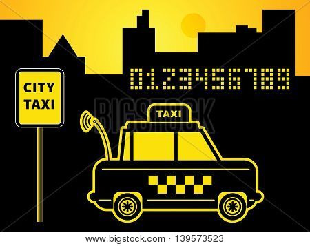 Taxi abstract night city background, vector illustration
