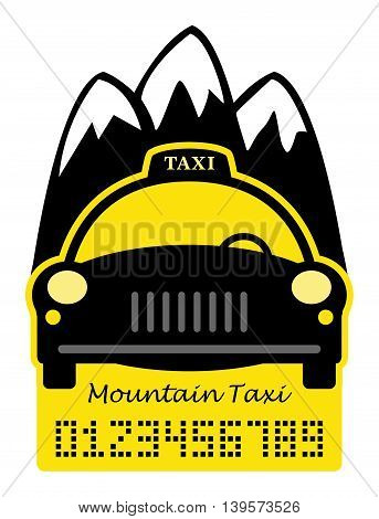 Taxi mountain abstract sign or symbol, vector illustration