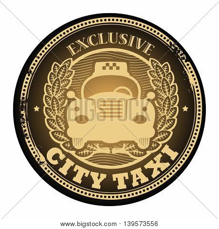 Abstract grunge rubber stamp with the taxi cab and the text Exclusive - City Taxi written inside the stamp, vector illustration