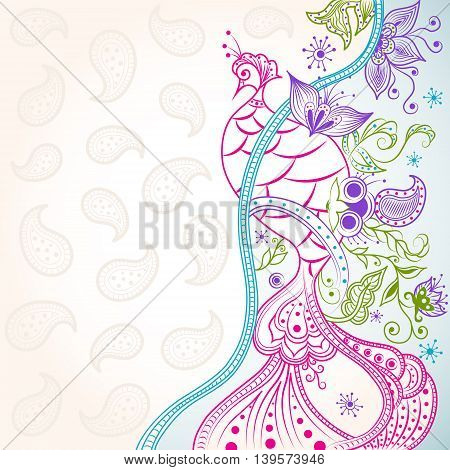 Abstract Oriental Phoenix on Floral Ornaments Background