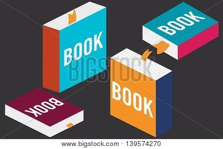 Set of books in flat design, vector illustration EPS 10