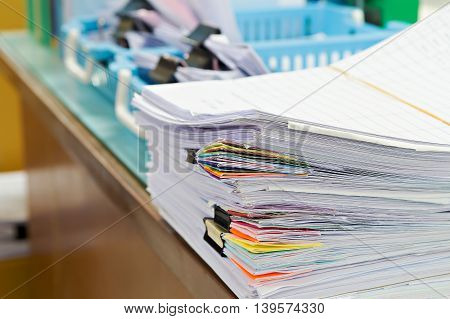 Close Up Of Business Documents Stack On Desk , Report Papers Stack