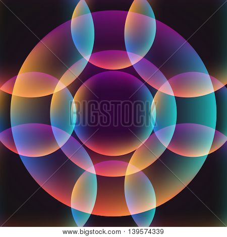 Abstract vibrant background with circles. Colorful theme