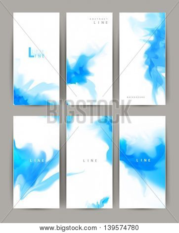 Set of six modern banners. Light elegant design with blurry spots of drawing imitating paint effect. Light blue color on white background.