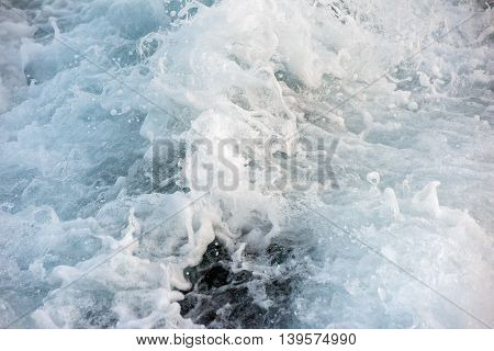 Blue Sea Wave Abstract Background Detail Close