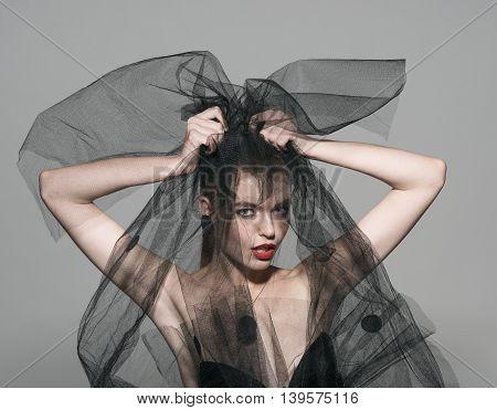 veil fashion sexy woman art vogue photo red lips professional beauty model face