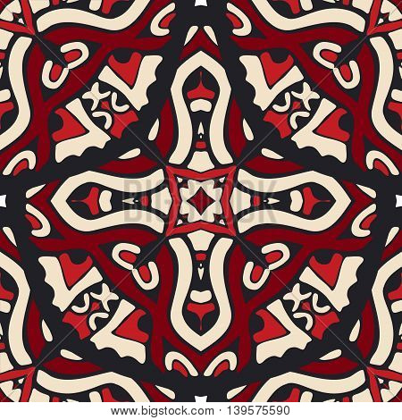 ethnic flower Damask seamless geometric vector pattern