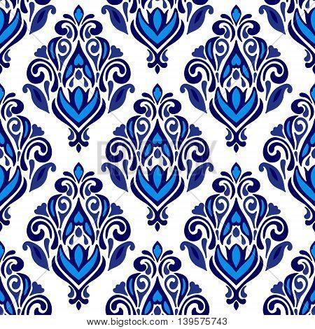 Luxury Damask flourish flower seamless pattern blue background