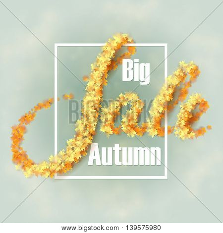 Autumn sale background with yellow maple leaves. Vector illustration