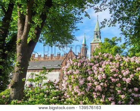 idyllic sunny city view of Copenhagen the capital city of Denmark