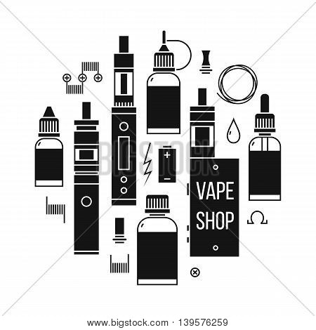 Vector illustration of vape and accessories for vape shop e-cigarette store. Vape icons set Isolated on white background.