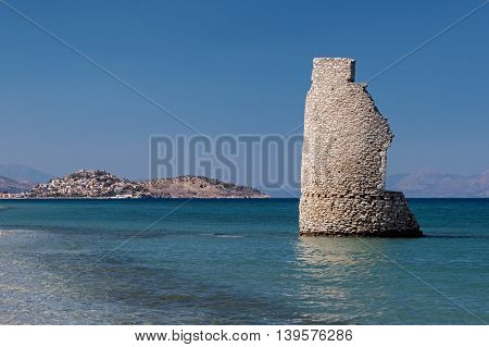 A ruined tower near Paralio Astros in Peloponnese, Greece