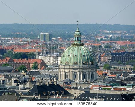 aerial view of Copenhagen the capital city of Denmark
