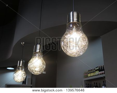 Bright Light Bulbs with lunusual filament in Jaen bar