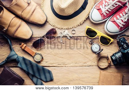 Travel Clothing accessories Apparel along for the trip - concept lifestyle