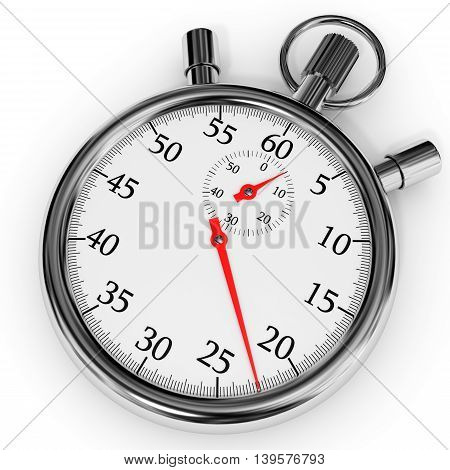 Chrome stopwatch on white background. 3D illustration.