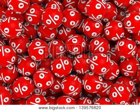 A lot of red discount balls. 3D illustration.