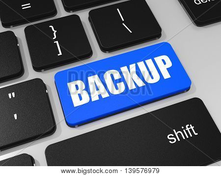 Backup Key On Keyboard Of Laptop Computer.