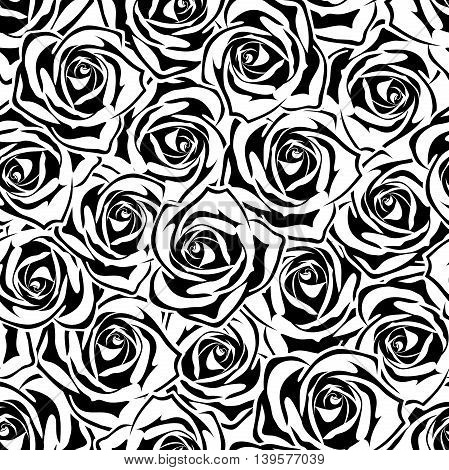 Vector seamless pattern with black and white roses.