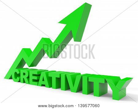 Graph up creativity arrow on white background. 3D illustration.