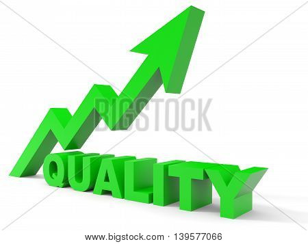Graph up quality arrow on white background. 3D illustration.