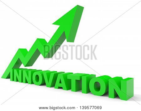 Graph up innovation arrow on white background. 3D illustration.