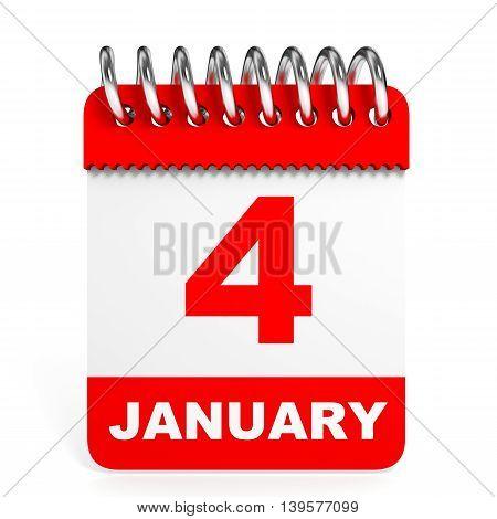Calendar On White Background. 4 January.