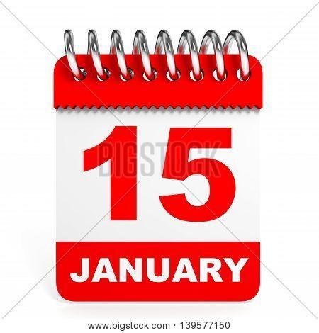Calendar On White Background. 15 January.