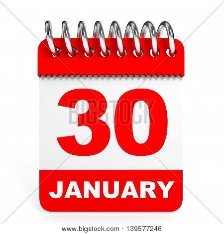 Calendar On White Background. 30 January.