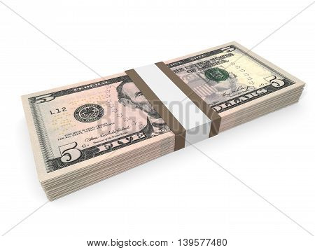 Pack Of Five Dollars Bank Notes.