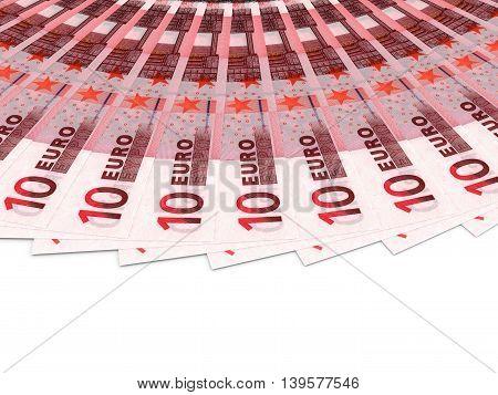 Money fan on white background. Ten euros. 3D illustration.