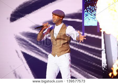 VITEBSK, BELARUS - JULY 17: French singer Willy William performs during the 25th Slavyansky Bazar Festival on July 17, 2016 in Vitebsk, Belarus