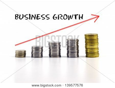 Conceptual Image. Stacks Of Coins Against White Background With Red Arrow And Business Growth Words.