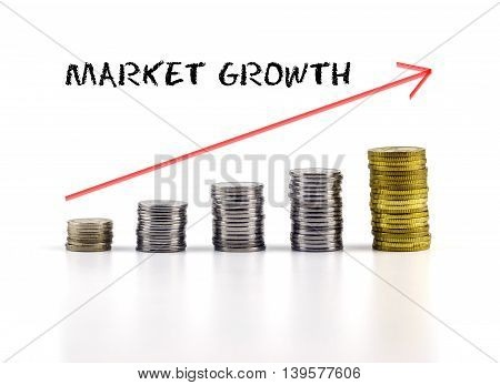 Conceptual Image. Stacks Of Coins Against White Background With Red Arrow And Market Growth Words.
