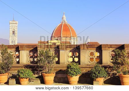 dome of cathedral Santa Maria del Fiore (Duomo) , Florence, Tuscany, Italy