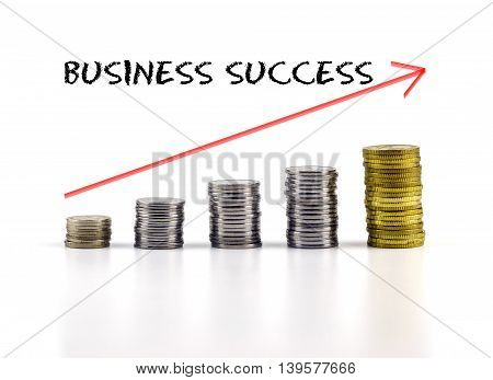 Conceptual Image. Stacks Of Coins Against White Background With Red Arrow And Business Success Words