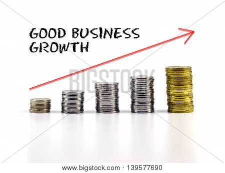 Conceptual Image. Stacks Of Coins Against White Background With Red Arrow And Good Business Growth W