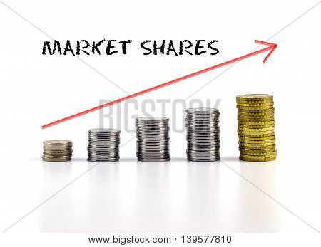 Conceptual Image. Stacks Of Coins Against White Background With Red Arrow And Market Shares Words.
