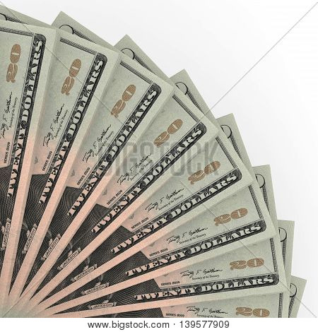 Money fan on white background. Twenty dollars. 3D illustration.
