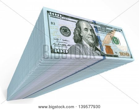 Stack Of Banknotes. New One Hundred Dollars.
