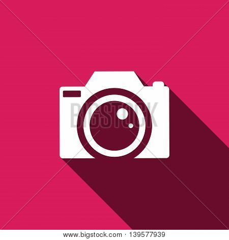 Camera Icon with long shadow. VEctor illustration EPS 10
