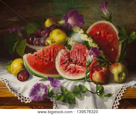 Painting oil Still Life with Watermelon