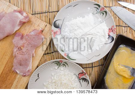 pork and flour with bread crumb for cooking tongkatsu / Cooking Japanese pork curry concept