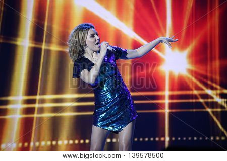 VITEBSK, BELARUS - JULY 17: Russian pop singer Alina Artz performs during the 25th Slavyansky Bazar Festival on July 17, 2016 in Vitebsk, Belarus