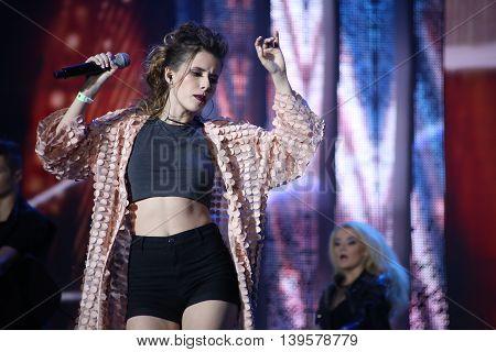 VITEBSK, BELARUS - JULY 17: Russian singer Elvira T (Elvira Tugusheva) performs during the 25th Slavyansky Bazar Festival on July 17, 2016 in Vitebsk, Belarus