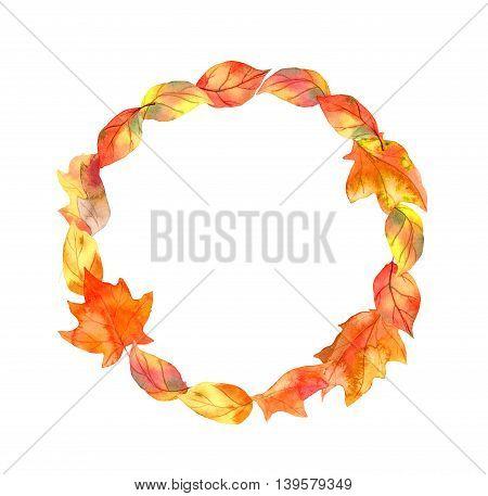 Autumn leaves. Autumn wreath. Watercolor round border
