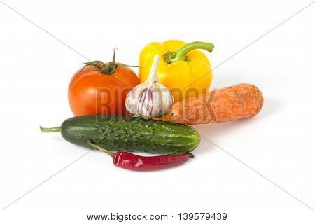 ripe vegetables on white background clipping path (shadow saved)