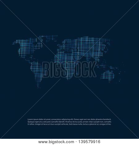 Cloud Computing and Networks Concept - Abstract World Map Background Design