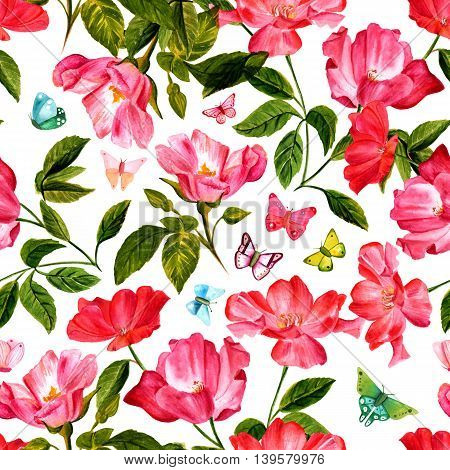 A vintage style seamless background pattern with hand drawn watercolor rose flowers in bloom with green leaves and butterflies