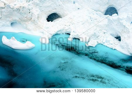 Icebergs on the arctic ocean in Greenland